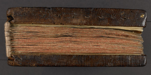 Wooden boards used as a binding for a medieval manuscript.