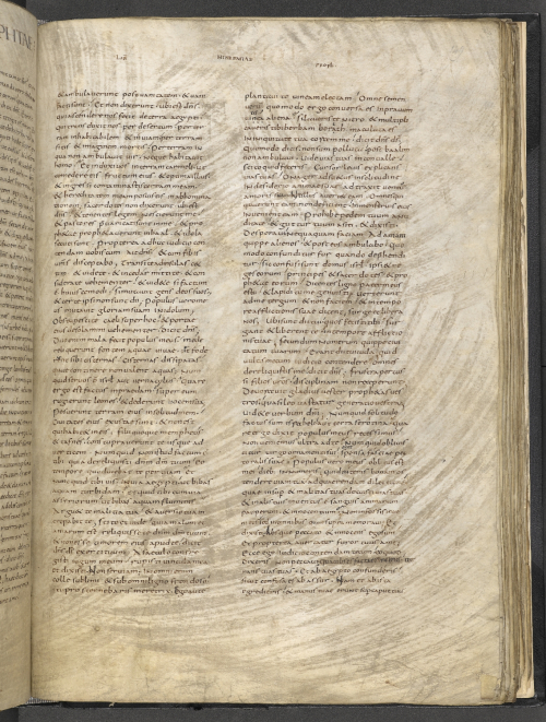 A page from a medieval manuscript that has been vigorously scraped.