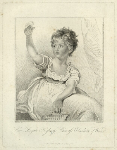 Etching of Charlotte as a young child