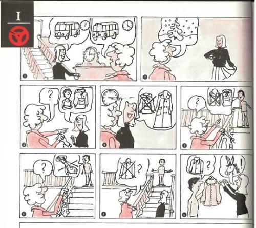 A cartoon strip designed to accompany an story on audiotape