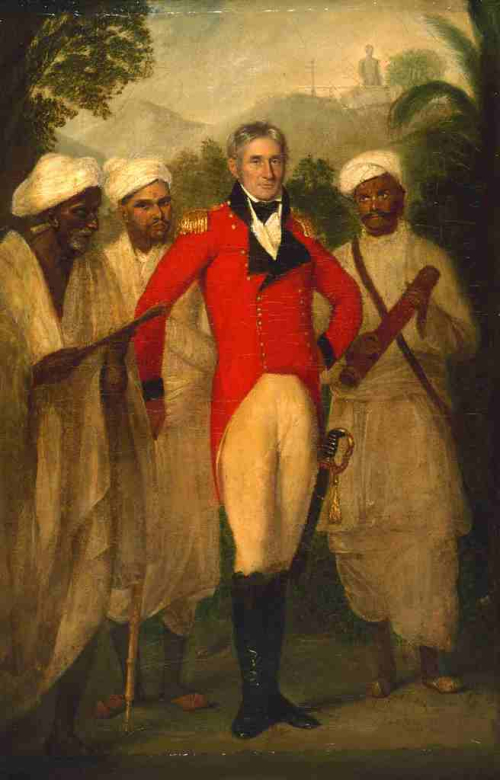 Painted Portrait of Colin Mackenzie with three Indian assistants by Thomas Hicke
