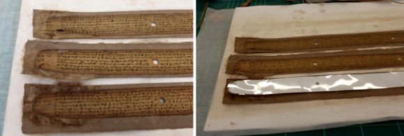 On the left, individual strips of the cast leaves are placed below the original palm leaves, and on the right the cast leaves are faced with tissue.
