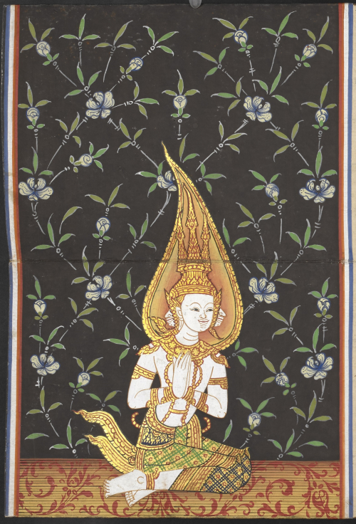 The god Brahma seated in a respectful pose on a floor decorated with red foliage before a black background with a light blue and green floral pattern. From a central Thai folding book containing a selection of Buddhist texts and the legend of Phra Malai, dated 1903. From Soren Egerod's collection. British Library, Or 15370, f. 4