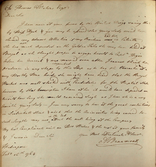 Letter from Beaumont to East India Company director Thomas Waters, 16th February 1764