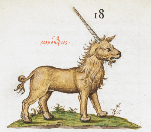 A detail from a 16th-century Greek manuscript, showing an illustration of a unicorn.