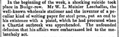 Brief account of the death from the Kendal Mercury