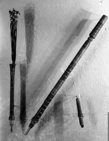 Photograph of parts of a bagpipe.