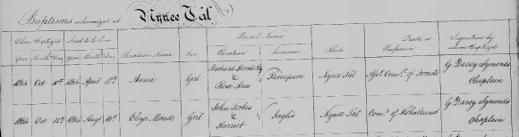 Baptism register entry for Eliza Maude Inglis 1864