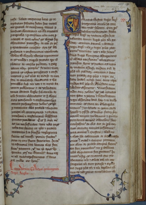 The closing page of the Statute of Marlborough: Cotton MS Claudius D II, f. 131r
