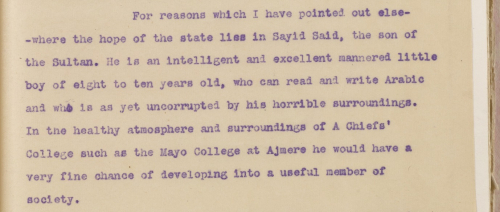 Excerpt of report praising the Sultan's son