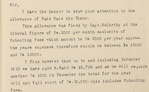 Excerpt of a letter discussing the school fees