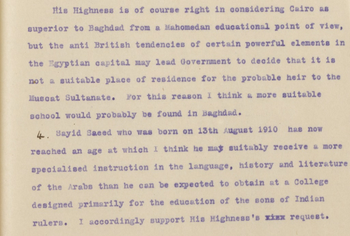 Letter suggesting a more suitable school might be found in Baghdad