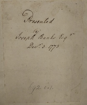 Icelandic Bible presentation note Joseph Banks