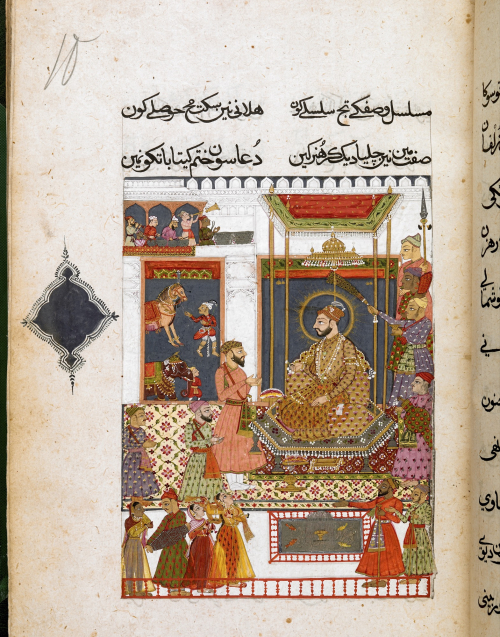 Portrait of the patron, Sultan ʻAbdullah Qutbshah who ruled Golconda from 1626 to 1672 (BL IO Islamic 14, f.10r)