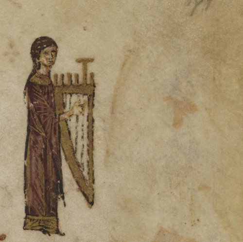 A detail from the Theodore Psalter, showing an illustration of a girl with a lyre.