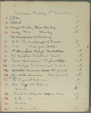Guestlist Thurs 11th Dec 1930