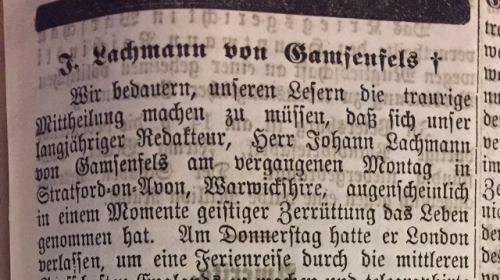 Opening of the Londoner Zeitung's obituary of Gamsenfels