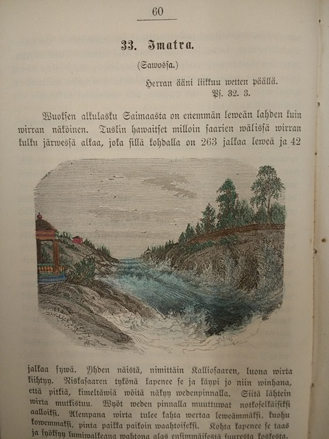 Picture of the Imatra river coloured in by hand