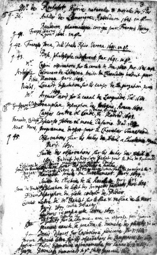 Extract from Sir Hans Sloane's catalogue with manicules along the left hand margin