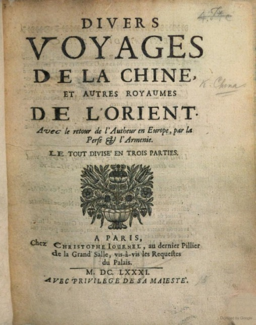 Title page of Diuers Voyages de la Chine, et Autres Royaumes de l'Orient