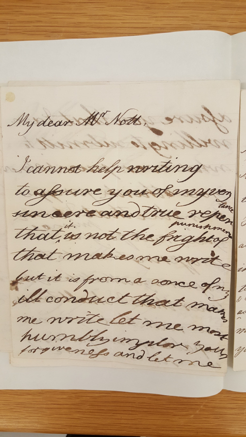 Handwritten letter, showing improvement from the previous image