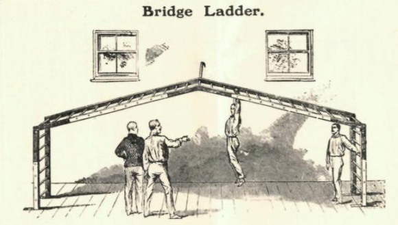 Man hanging from the Bridge ladder