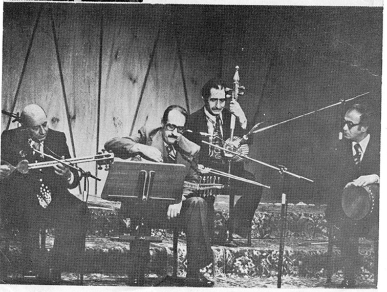 Black and white photograph of musicians