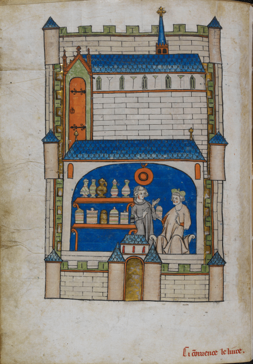 A page from a medieval surgical handbook, showing an illustration of an apothecary shop.