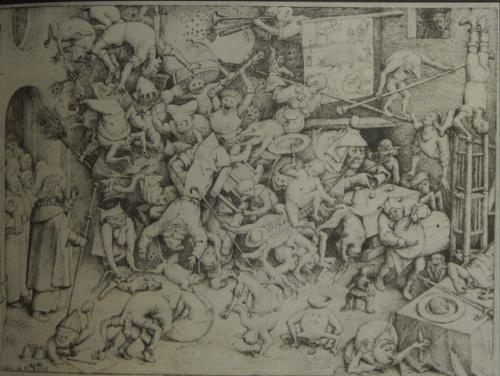 The magician Hermogenes is toppled amid a crowd of demons