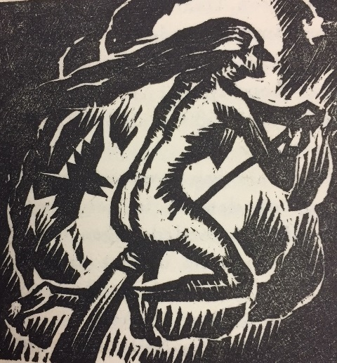 Woodcut of a naked woman riding a broom