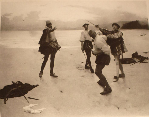 'On Bideford Sands' by Frank Bourdillon - men fighting a duel with swords