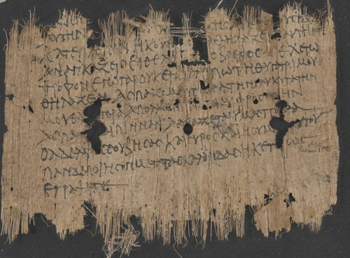A 3rd-century papyrus, showing the text of a letter in Ancient Greek, from a mother to her son.