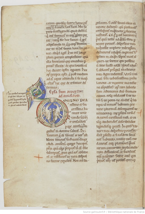 A page from a medieval manuscript of St Augustine's writings, showing a decorated initial inhabited with birds and a dragon.