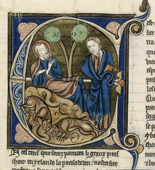 A page from a 13th-century manuscript, showing an illustration of St Patrick sleeping and a figure holding a book.