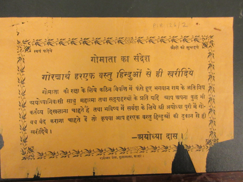 A handbill printed on saffron paper urges Hindus to only buy produce from coreligionists in order to protect Gomāta (Mother cow)