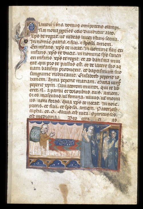 A page from a medieval manuscript, showing an illustration of a birth, with a woman hidden behind a screen and an infant held by a midwife.