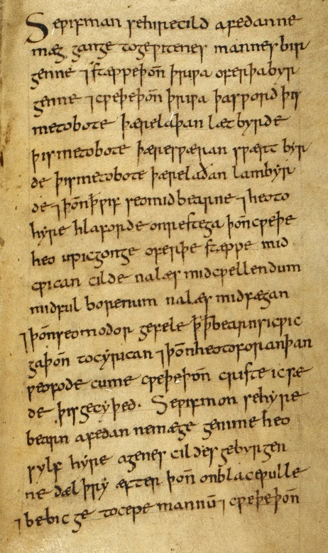 A detail from a medieval manuscript, showing the text of an Old English charm for 'delayed birth'.