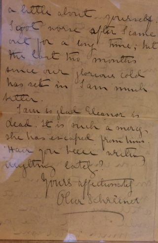 Page of letter from Olive Schreiner to Dollie Radford