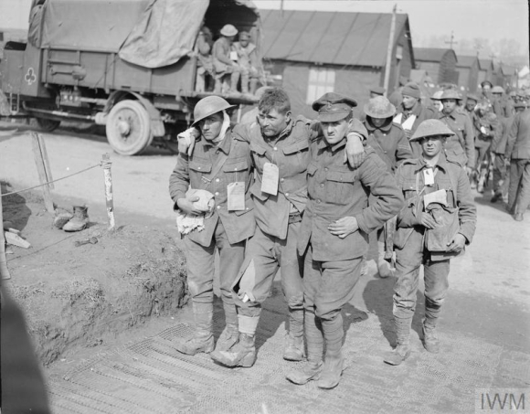 Battle of St. Quentin. British walking wounded leaving a RAMC casualty clearing station near Bapaume