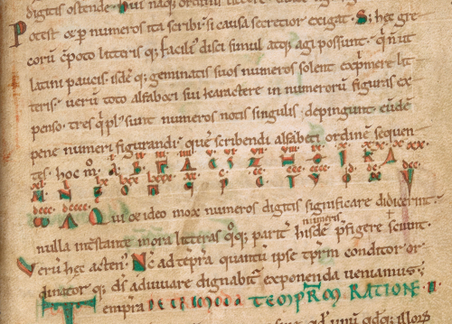 A detail from a medieval manuscript, showing the basics of how to code, using Greek letters and numerical values.