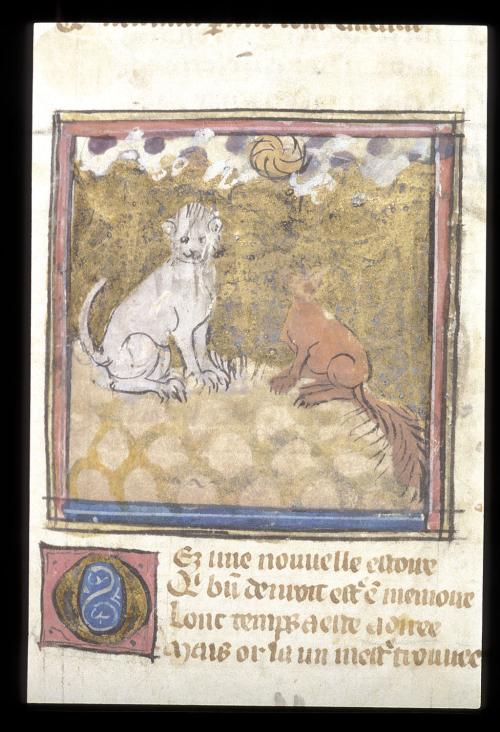 A detail from a manuscript of Le Roman de Renart, showing an illustration of Renard and Tibert the cat.