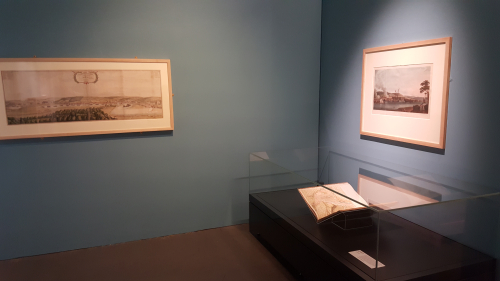 Photo showing the three items in the exhibition space