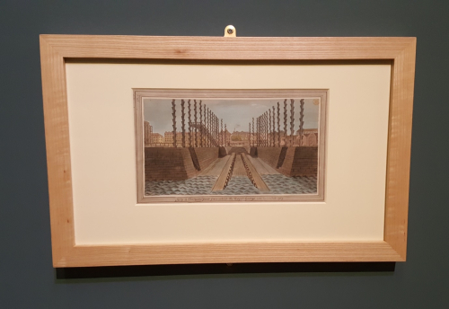 Framed painting of the dockyard slip from the exhibition