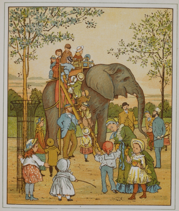 Children being given a ride on an elephant at London zoo
