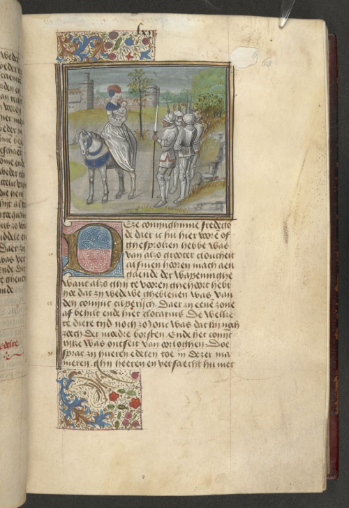 A page from a Flemish translation of Christine de Pizan's Cité des dames, showing an illustration of Fredegund, Queen Consort of Chilperic I, before an assembled group of soldiers.