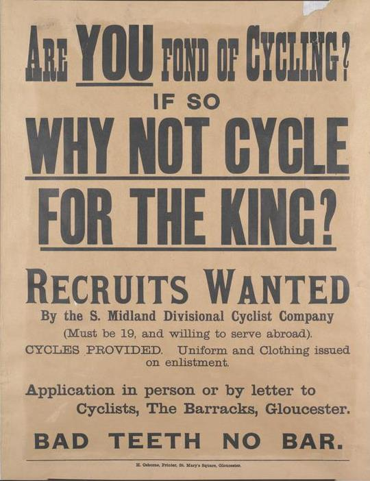 Recruiting poster for Cyclist Company