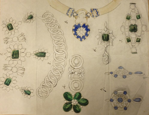 Drawing of Charlotte Canning's jewellery