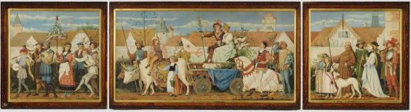 Triptych watercolour painting by Henry Stacy Marks entitled May Day in the Olden Time, 1867