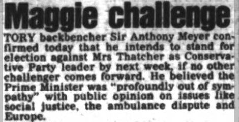 Newspaper article about Sir Anthony Meyer standing against Margaret Thatcher