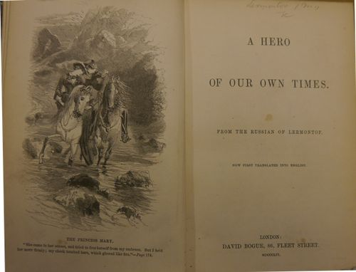 Title-page of 'A Hero of our own Time' with a frontispiece illustration of a man and woman on horseback in a mountain landscape